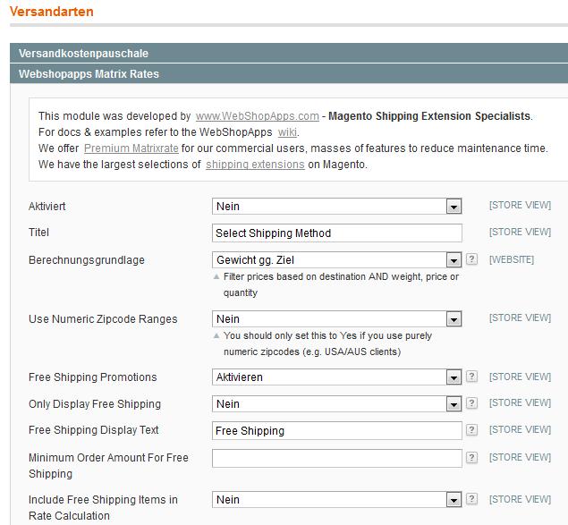 Extension Matrixrate von Webshopapps für Magento