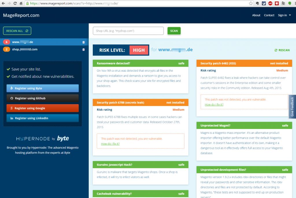 Sicherheitsstatus von Magento Shop prüfen mit MageReport